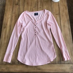 Abercrombie pink and white striped Henley